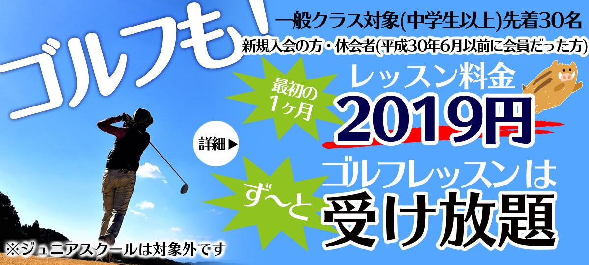 埼玉県草加市のインドアゴルフスクール レッスン料2019円・レッスン受け放題キャンペーン