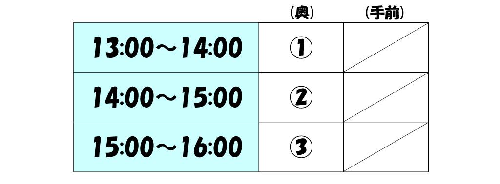 インドアテニスコート レンタル時間割 13時から14時、14時から15時、15時から16時のスケジュールです。