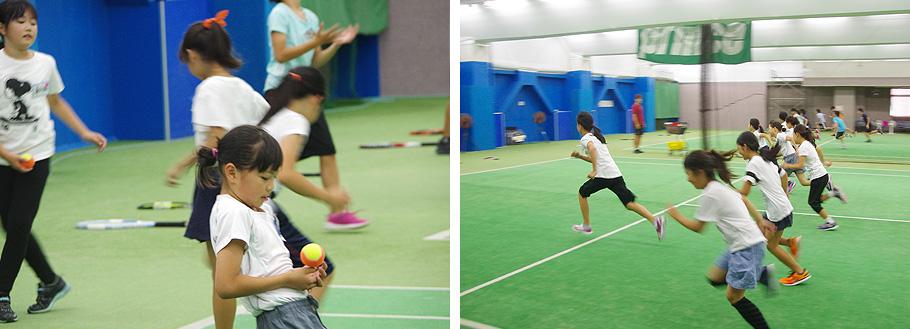 ジュニアテニススクールでは、運動能力向上を目指し、コーディネーショントレーニングを取り入れています。